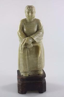 Vintage Chinese Soapstone Hand Carved Female Farmer Figure Rare