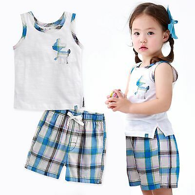 "Vaenait Baby Kids Check Girls Boys Clothes Sleeveles Outfit ""Bambi White"" 12M-7T"