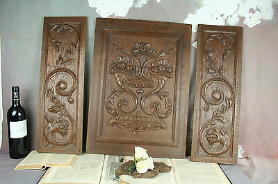 Set of 3 French vintage door wood wood carved panels dragons gothic fruits