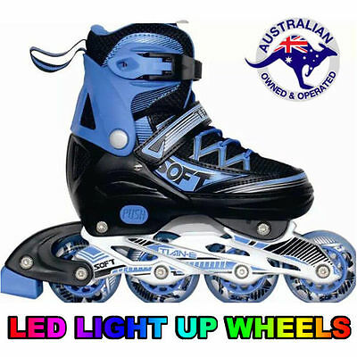 Kids Adjustable Roller Blades Inline Skates Light Up Wheels Size EU 35-38 US 4-6