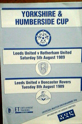 Leeds V Rotherham / Doncaster 5/8/1989 Yorks & Humberside Cup Double Issue