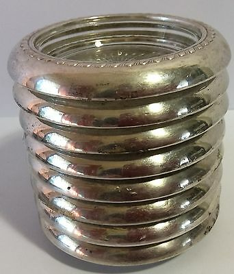 8 Vintage Glass/Silver(?) Cup Saucers