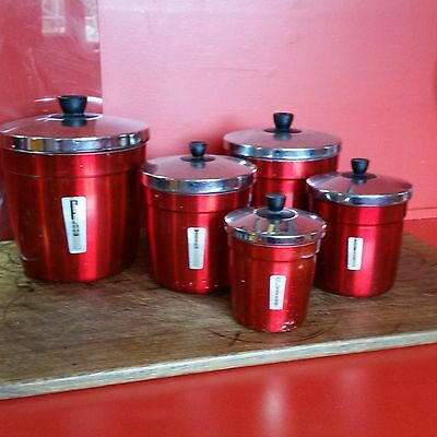 Vintage Waratah  Red Aluminium, Chome Kitchen Canisters. Set Of Five