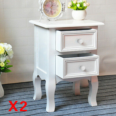Pair Of White Bedside Tables Cabinets Units Nightstand Table 2 Drawers Storage