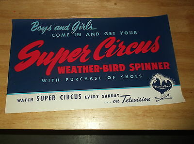 "Super Circus 17"" X 10"" Paper Advertising Sing Weather Bird Shoes Nos"