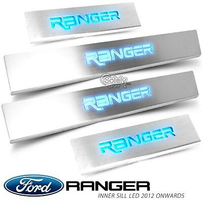 New Ford Ranger T6 2012 ON Door Side Sill Scuff Protector Plate Trim w/LED Logo
