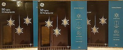 NEW - GE 50 Light 3D Hanging Star Holiday Decoration - Lot of 3