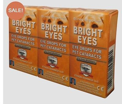 Ethos Bright Eyes NAC Cataract Eye Drops For Pets, All Animals And Birds 3 BOXES