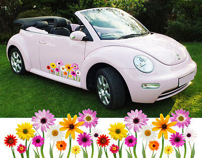 Girly Daisy Flowers Car Van Bike Stickers Decal Graphics - Beetle, Mini