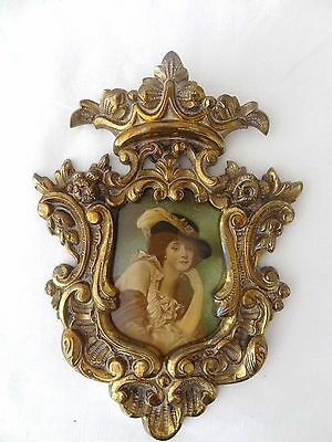 Antique victorian enamelled picture Baroque Frame cast iron bronze gilt