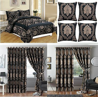 3 Piece Betty Black Jacquard Comforter Bedspread with Matching curtain + pillows