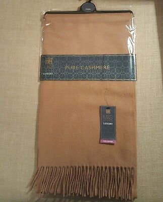 New Marks And Spencer Mens 100% Cashmere Scarf Camel Present