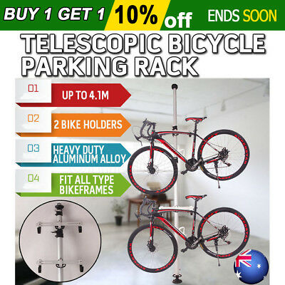 Bicycle Parking Rack 2 Bike Storage Stand Heavy Duty Aluminum Alloy Adjustable