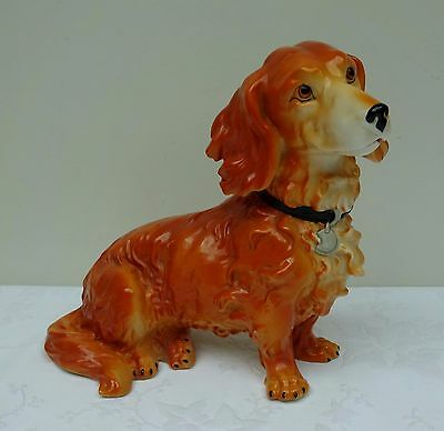Dachshund Heavy Porcelain Ceramic Pottery Red Long Haired Dog Vintage Antique