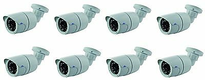 8x Telecamera Bullet CMOS 800 linee IR Giorno Notte con ICR 3,6 mm 23 LED CAM