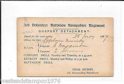 MILITARY 1887 3rd VOLUNTEER BATTALION HAMPSHIRE REGIMENT GOSPORT POSTAL STAT.