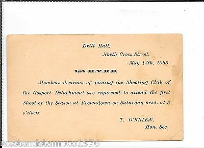 Military Hampshire Gosport 1896 Postal Stationary. Shoot Invitation. 320 Duplex