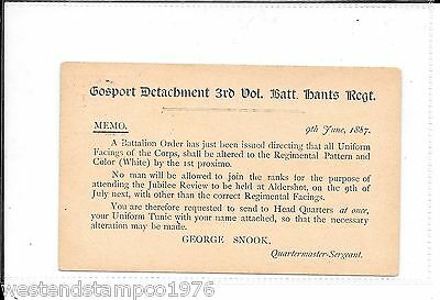 Military Hampshire Gosport 1887 Postal Stationary Postcard. Memo. Duplex 320