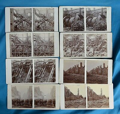 8x Local History Stereoview Photo John Cave & Sons Shoe Makers Fire 1901 Rushden