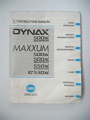 Minolta Maxxum 500Si 35mm SLR Instruction Manual