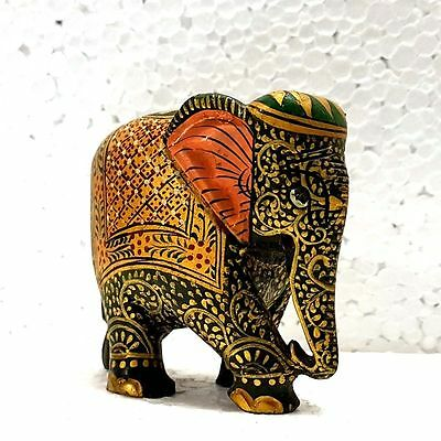 Indian  Green Elephant Statue Figurines Collectible  Wooden Golden Painted item