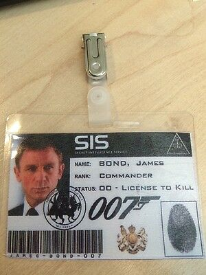 JAMES BOND 007 DANIEL CRAIG ID BADGE,Fancy Dress,  Stag Party. World Book Day
