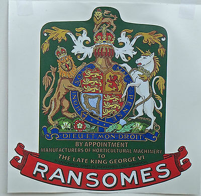 "Ransomes Vintage Mower ""Late King George VI"" Coat of Arms Repro Catcher Decal"