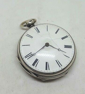 Chunky Antique solid silver gents fusee verge London pocket watch 1857 working