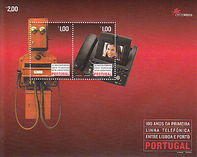Portugal S / S 100 Years Of First Telephone Line Between Lisbon And Porto Mnh