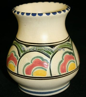 Vintage Hand Painted Honiton Vase Devon Pottery 4In Tall