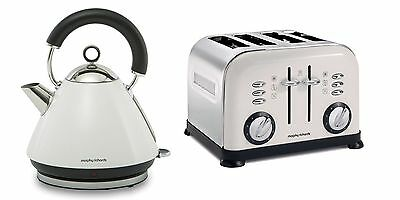 Morphy Richards Accents Kettle & Toaster Set In White S/Steel 43774 / 44037 (W1)