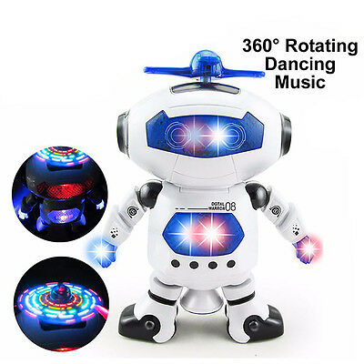 360 Rotation Electronic Dancing Robot with Light & Music Kids Best Gift Walking