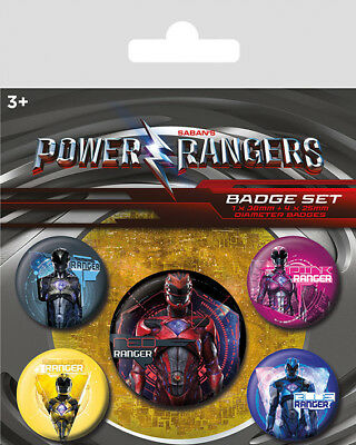 New Power Rangers Film Movie Characters 5 Pack of Badges TV Film Button Pin