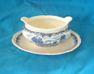 Grindley England Scenes After Constable Blue Cream Gravy w/ underplate
