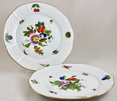 "Herend Porcelain Fruits & Flowers Bfr 9"" Luncheon Plates 521 X 2 1St Mint!"