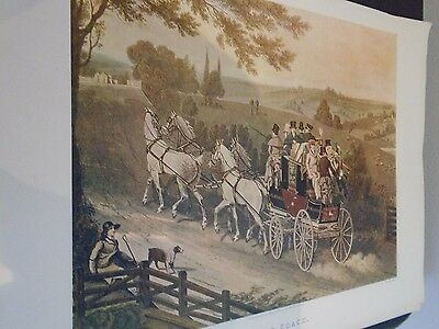 """Original 1908 Old Sporting Colour Print """" Stage Coach"""""""