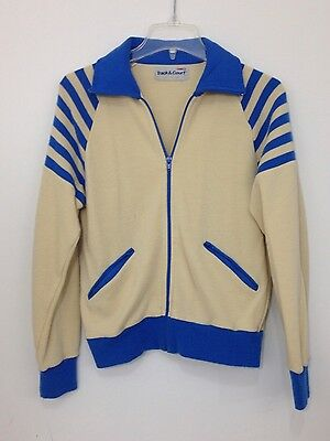 Track & Court Vintage Jacket Sweatshirt Zip up Blue Stripe Collar  Women Sz S M?