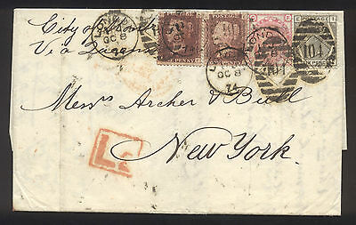 1874 Folded Letter From London to New York with British Stamps - Nice Cancels!