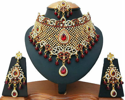 Indian Bridal Jewellery Set Red Clear Stones Gold Plated New - Aq/12