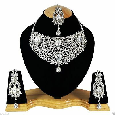 Indian Vintage Style Jewellery Set Clear Stones Silver Plated New Aq/326
