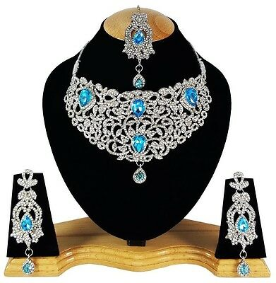 Indian Vintage Style Jewellery Set Turquoise Clear Stone Silver Plated New Aq327