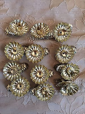 Vintage Tin Candle Clip On Holders Tree Gold Pine Cones Christmas