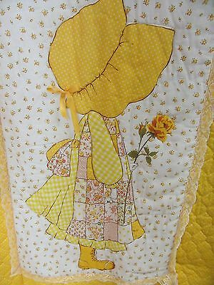 Holly Hobbie Twin Bedspread Yellow Ruffle Quilted Floral Vintage 1970s Comforter