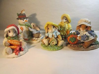 Enesco 5 MY BLUSHING BUNNIES Figurines Winter Spring Fall