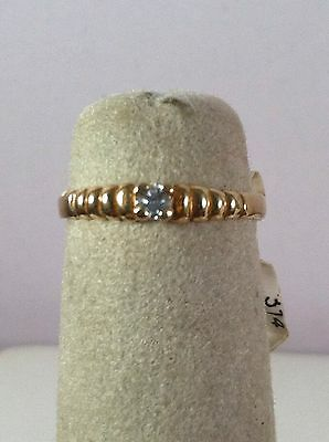 Child's 10K Ylw Solid Gold Birthstone Ribbed Baby Ring Clear April CZ Size 2