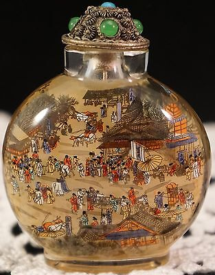 Intricate Inside Reverse Painted Glass Snuff Bottle Signed Jeweled Top MUST SEE