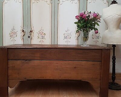 Large Antique French Solid Oak Chest / Coffee Table - C1880