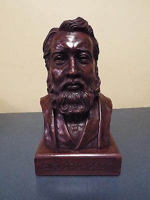 "Large  12 1/4""   C.H. Spurgeon - Wood Stained Resin Bust- very heavy"