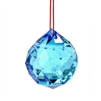 "AQUA FENG SHUI HANGING CRYSTAL BALL 1.5"" 40mm Sphere Prism Turquoise Light Blue"