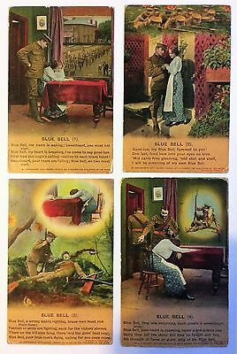 WW1 BLUE BELL  Bamforth Song Cards set of 4 No 4780/1/2/3/4 Unused and Unstamped